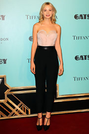 Carey Mulligan bared her arms at 'The Great Gatsby' premiere where she wore this blush-colored bustier-style top.