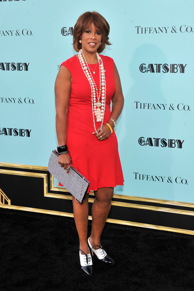 Gayle King kept her red carpet look fairly simple with this crisp red frock.