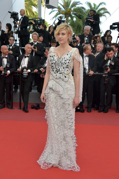 Greta Gerwig Embroidered Dress [the meyerowitz stories,gown,flooring,fashion model,carpet,fashion,dress,shoulder,girl,red carpet,haute couture,red carpet arrivals,greta gerwig,screening,cannes,france,cannes film festival,palais des festivals]