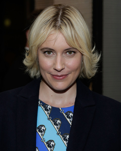 Greta Gerwig Layered Razor Cut [the academy of motion picture arts sciences,hair,face,blond,hairstyle,eyebrow,chin,layered hair,lip,long hair,bangs,greta gerwig,new york city,neuehouse madison square,members party,academy of motion picture arts sciences hosts]