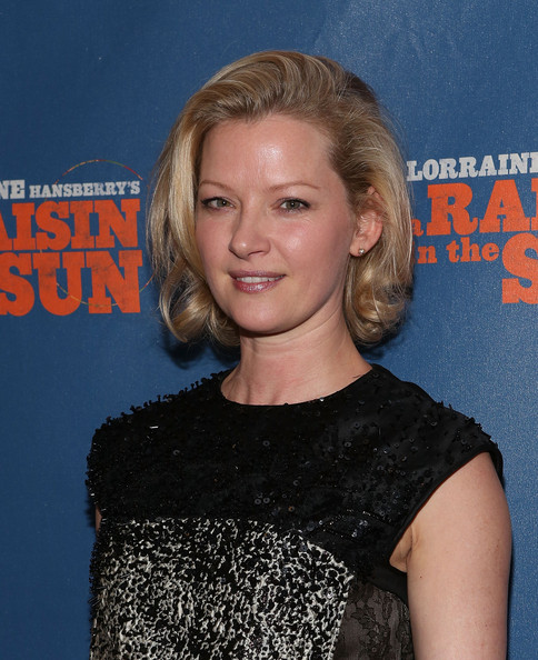 Gretchen Mol Curled Out Bob [a raisin in the sun,hair,hairstyle,blond,premiere,dress,long hair,brown hair,cocktail dress,electric blue,layered hair,opening night - arrivals,gretchen mol,curtain call,broadway,new york city,the ethel barrymore theatre,broadway opening night]