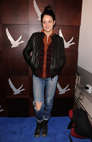 Shailene had a cool vibe with her leather jacket layered over this tri-tone cardigan.