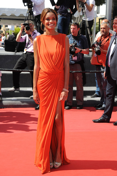 Anais Monory in Ruched Orange
