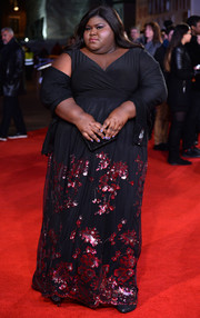 Gabourey Sidibe got all dolled up in a black gown with a flower-sequined skirt for the 'Grimsby' world premiere.