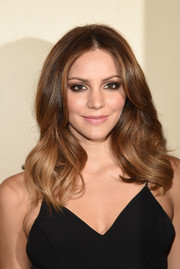 Katharine McPhee looked radiant with her semi-wavy layered hairdo that framed her face.