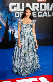 Zoe Saldana made an ultra-girly choice with this Valentino print gown, featuring a ruffle neckline and a voluminous skirt, for the 'Guardians of the Galaxy' premiere in London.