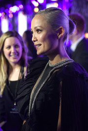 Pom Klementieff opted for a classic side-parted bun when she attended the 'Guardians of the Galaxy Vol. 2' European gala screening.