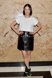 Eva Chen kept it casual in a cropped white tee when she attended the Gucci beauty launch event.