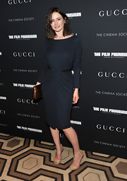 Emily donned a navy knit cocktail dress with a sleek design for the 'La Dolce Vita' screening.