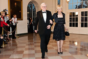 Astrid Buffet wore this organza LBD with a little satin jacket to the White House State Dinner.