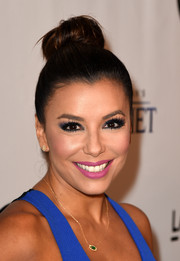 Eva Longoria swept her hair up into a cute top bun for the screening of 'Kahlil Gibran's The Prophet.'