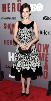 Winona Ryder exuded classic elegance at the 'Show Me a Hero' screening in an ornately embroidered black-and-white cocktail dress by Oscar de la Renta.