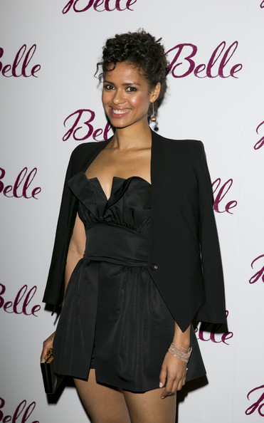 Gugu Mbatha-Raw Cuff Bracelet [clothing,hairstyle,dress,little black dress,cocktail dress,fashion,suit,formal wear,long hair,fashion model,belle,gugu mbatha-raw,prince,surprise performance,england,leicester,party,party,arrivals,premiere]