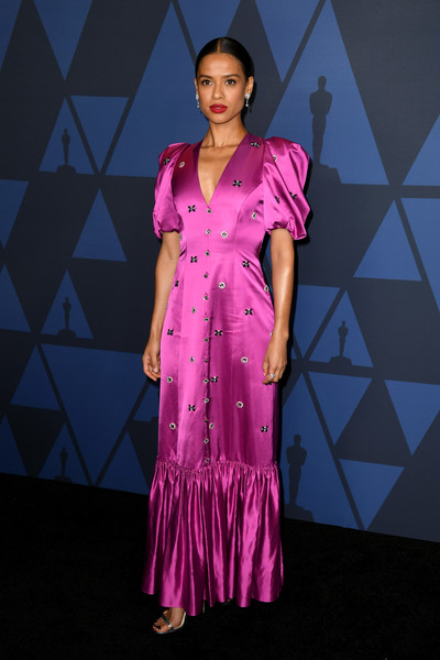 Gugu Mbatha-Raw Beaded Dress [clothing,fashion model,dress,pink,purple,formal wear,fashion,magenta,gown,fashion design,gugu mbatha-raw,hollywood highland center,california,the ray dolby ballroom,academy of motion picture arts and sciences,11th annual governors awards]