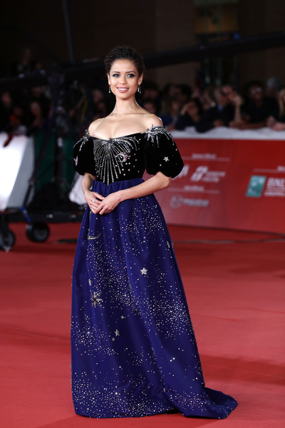Gugu Mbatha-Raw Off-the-Shoulder Dress [motherless brooklyn,red carpet,fashion model,carpet,dress,clothing,flooring,gown,shoulder,fashion,premiere,gugu mbatha-raw,red carpet,rome,italy,red carpet,rome film fest 2019,rome film festival]
