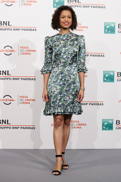 Gugu Mbatha-Raw Strappy Sandals [motherless brooklyn,movie,fashion model,clothing,dress,fashion,cocktail dress,shoulder,fashion design,footwear,lady,fashion show,gugu mbatha-raw,photocall,rome,italy,photocall - 14th rome film fest 2019,rome film festival]