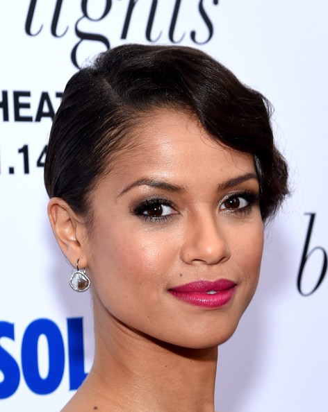 Gugu Mbatha-Raw Retro Updo [beyond the lights,the new york premiere of relativity media,hair,face,eyebrow,hairstyle,lip,chin,skin,forehead,nose,cheek,gugu mbatha-raw,regal union square stadium,new york city,new york premiere of relativity media]
