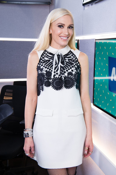 Gwen Stefani finished off her dress with some silver bangles.
