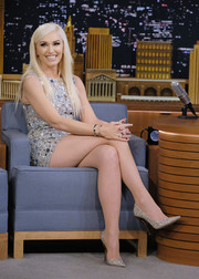 Gwen Stefani went for total sparkle with these Jimmy Choo glitter pumps paired with an embellished mini dress during her appearance on 'Jimmy Fallon.'