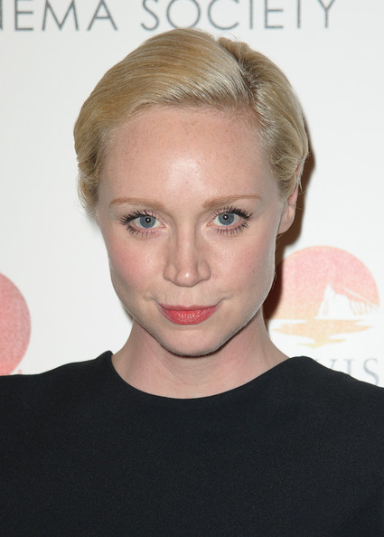 Gwendoline Christie Short Side Part [house of versace,hair,face,eyebrow,hairstyle,blond,chin,lip,forehead,cheek,skin,arrivals,gwendoline christie,moma,new york city,marvista entertainment and lifetime with the cinema society host a screening,the cinema society,lifetime,screening]