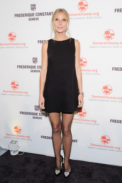Gwyneth Paltrow Evening Pumps [little black dress,clothing,dress,fashion model,flooring,cocktail dress,shoulder,leg,joint,catwalk,frederique constant horological smartwatch,gwyneth paltrow,new york city,spring studios,launch event]