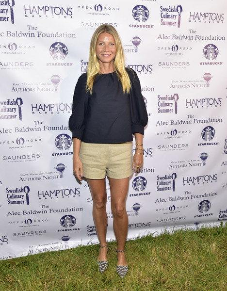 Gwyneth Paltrow Short Shorts [authors night for the east hampton library,clothing,fashion,footwear,shorts,street fashion,outerwear,shoe,photography,t-shirt,top,east hampton,new york,the east hampton library,gwyneth paltrow]