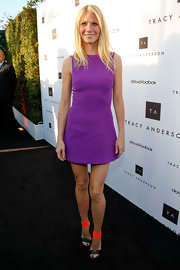 Gwyneth Paltrow showed off her perfectly toned legs with this mini dress, featuring a flared skirt.