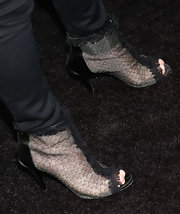 Kathy Hilton's ankle booties had a touch of Gothic-flare with the ruffled ankle accent.