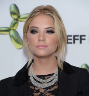 Ashley Benson rocked a messy-sexy updo at the H&M Fifth Avenue store launch.