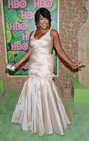 Niecy looked like a princess in a petal pink evening gown with a voluminous mermaid train at the Emmy Awards reception.