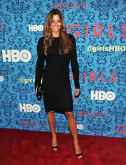 Kelly Bensimon looked sharp in this strong-shouldered LBD at the premiere of 'Girls' in NYC.
