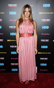 Kelly Bensimon rocked a printed maxi with a wide studded belt.