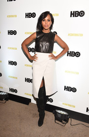 Kerry Washington paired a white faux-wrap skirt by Tibi with a black leather crop-top by Ji Oh for a retro-edgy vibe at the Sundance 'Confirmation' event.