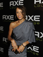 Dania showed off her gold pyramid bangle bracelet while hitting the AXE lounge event.