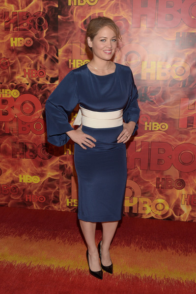 Erika Christensen attended the HBO Emmy after-party wearing a blue cocktail dress with loose sleeves and an obi-style belt.