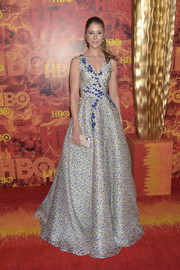 Amanda Crew looked airy in her Gustavo Cadile printed ball gown during the HBO Emmy after-party.