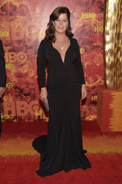 Marcia Gay Harden oozed classic glamour in a curve-hugging, deep-V black gown at the HBO Emmy after-party.