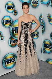 Rainey Qualley looked like royalty in this strapless beaded gown at the Golden Globe after-party.