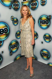 Anne Heche glittered at the Golden Globe after-party in a beaded cocktail dress.