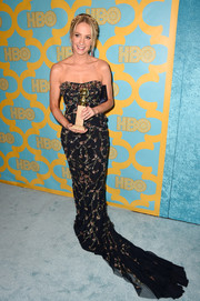 Joanne Froggatt got all glammed up in a beaded black strapless gown by Marchesa for the HBO Golden Globes party.