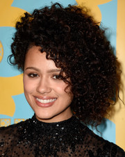 Nathalie Emmanuel attended the HBO Golden Globes party wearing her hair in a big shock of curls.
