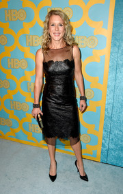 Lauren Weedman went for edgy sophistication in a textured, sheer-panel LBD at the HBO Golden Globes party.