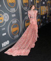 Sydney Sweeney made a head-turning entrance in a pink Giambattista Valli print gown with an ultra-long train at the HBO post-Emmy reception.