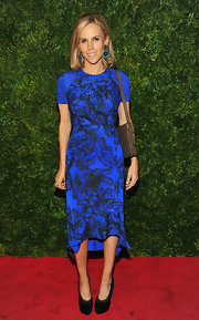We were loving this vivid blue and black print on Tory Burch!