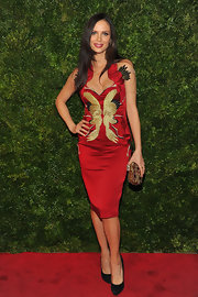 Georgina Chapman was all about the embroidery in this fun red and gold cocktail dress.