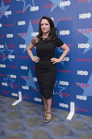 Julia Louis-Dreyfus completed her elegant ensemble with a pair of black lace evening sandals.