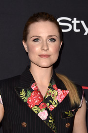 Evan Rachel Wood opted for a simple brushed-back ponytail when she attended the HFPA and InStyle TIFF celebration.