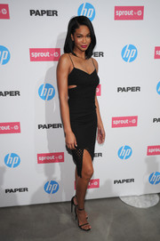 Chanel Iman showed off her ultra-sexy style with this slinky black cutout dress during the HP event in New York City.