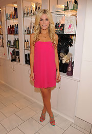 Tinsley Mortimer paired her fuchsia frock with colorful sandals at a celebration of her debut novel.