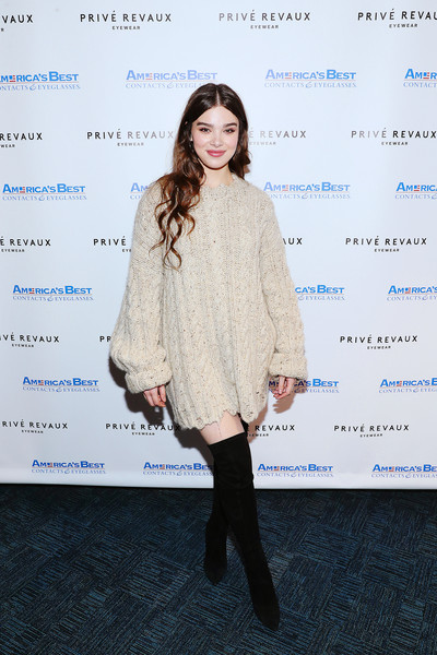 Hailee Steinfeld showed off her winter style in a nude cable-knit sweater dress at the Prive Revaux in-store event.